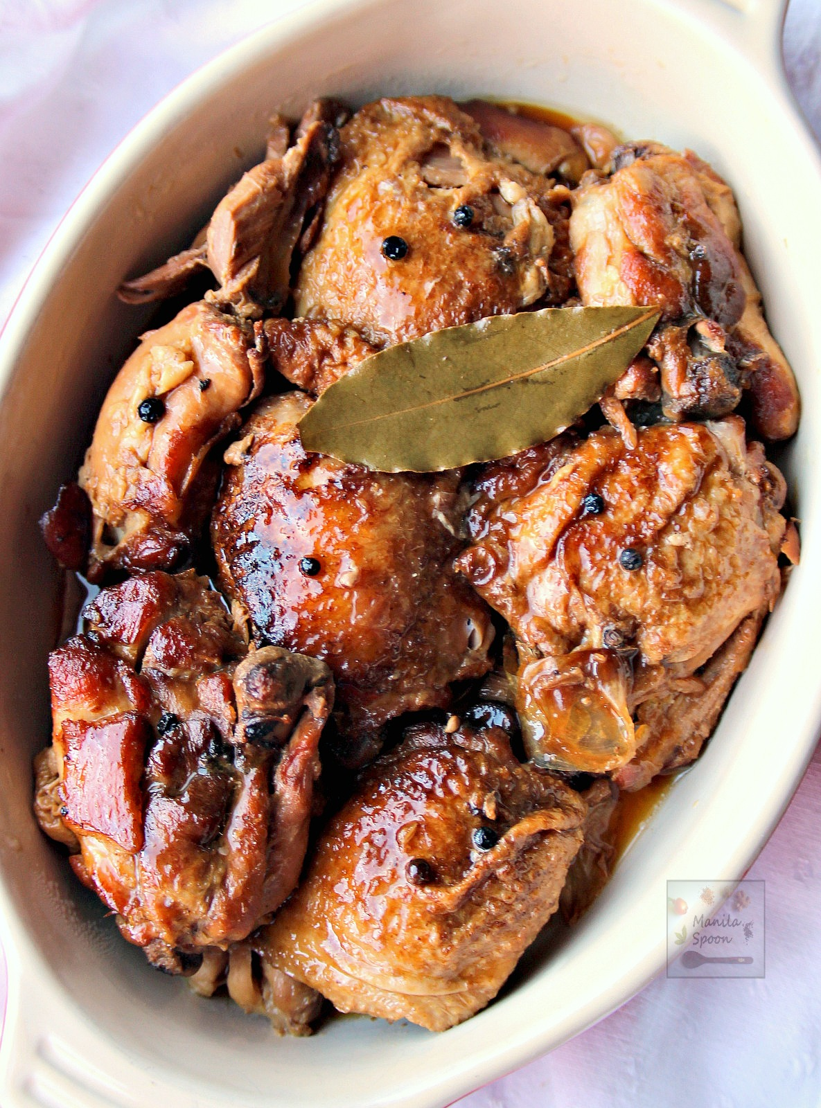 Chicken slowly braised in vinegar, soy sauce, garlic and bay leaves ...