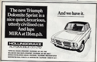 Hollingdrake Automobile Co Ltd Triumph Dolomite Sprint advert from Motor 23 June 1973