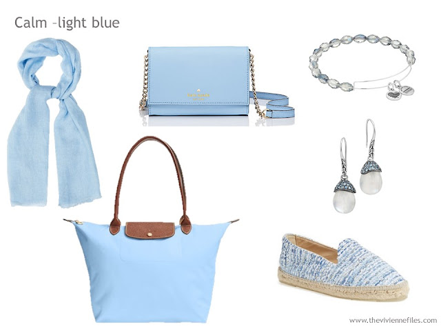 Adding Accessories to a Capsule Wardrobe in 13 color families -  light blue