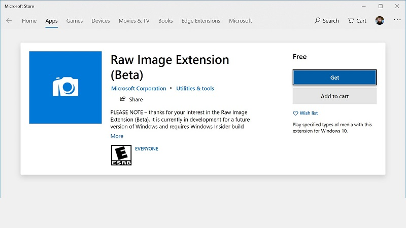 Latest Windows 10 build 18323 (19H1) adds improved RAW image support