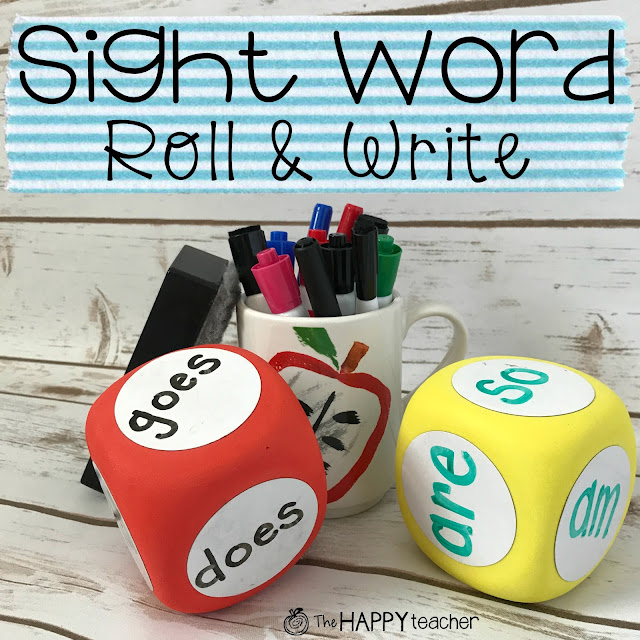 Use dry erase dice or cubes for a fun and easy sight word activity. Easy to change out the words and personalize for the sight words your child is currently learning.