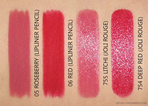 Clarins Lipliner Pencils 05 Roseberry 06 Red Swatches Graphik Collection