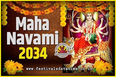 2034 Maha Navami Pooja Date and Time, 2034 Maha Navami Calendar