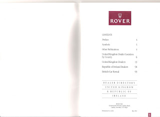 Rover dealer directory May 1991 contents page