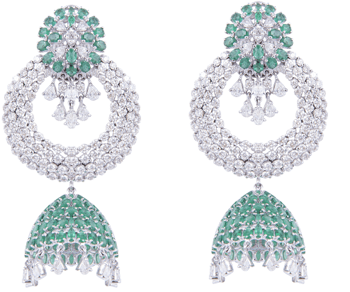8.A very beautiful pair of diamond earrings in white polish in 14ct and having 70.730gms weight with studded diamonds and real emerald @845150 by SLG Jewellers-min