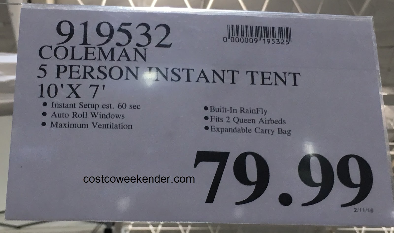 Coleman 5-Person Instant Dome Tent | Costco Weekender