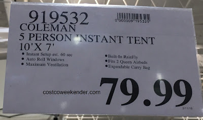 Deal for the Coleman Instant Dome Tent at Costco