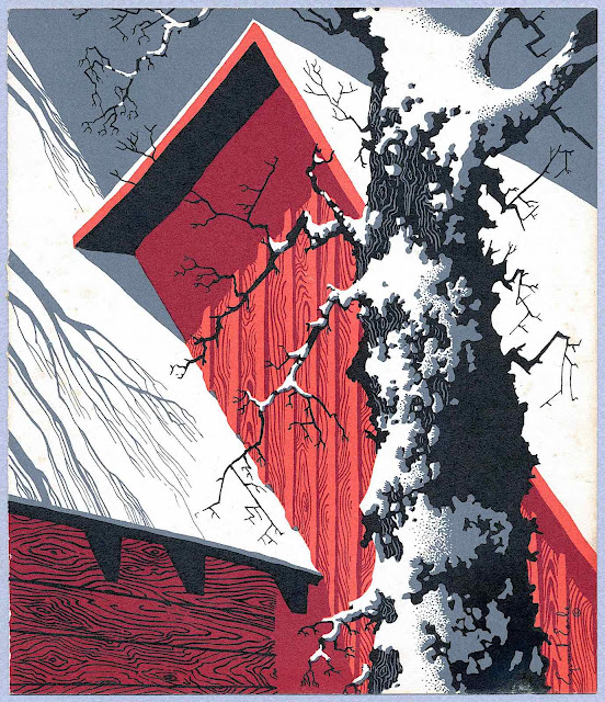 Eyvind Earle, a red barn and tree in winter