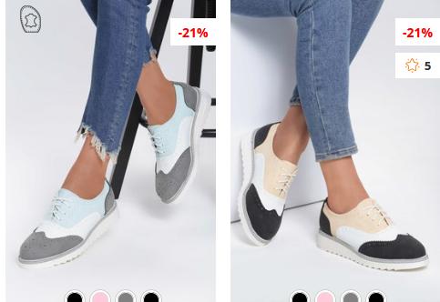Pantofi Oxford Hema Gri, negri ieftini de dama