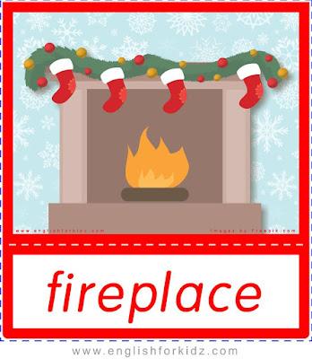 fireplace, Christmas flashcards for ESL teachers