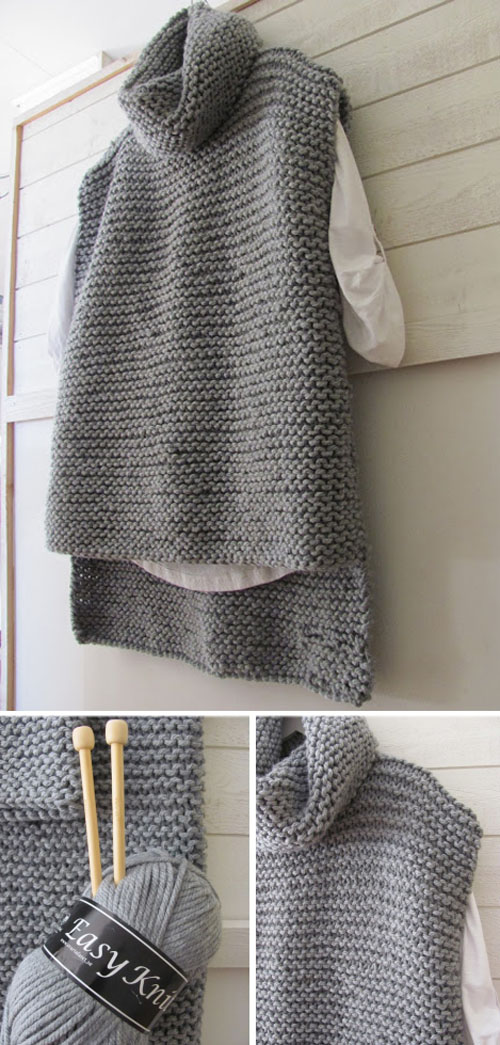 Easy Knit Women Sweater Vest - Free Pattern