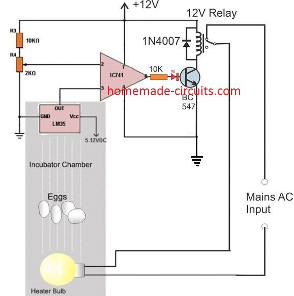 LM35 heat control relay for incubator application