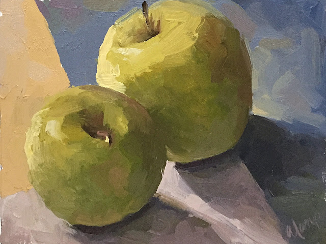 value and color study of apple still life Apr 11 2019
