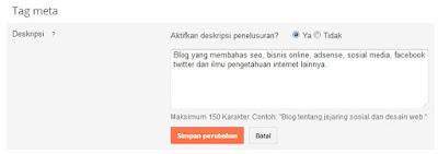 mengaktifkan tag meta deskripsi penelusuran blogspot