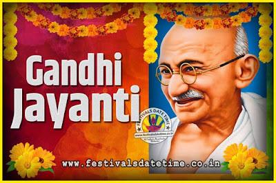 2034 Gandhi Jayanti Date and Time, 2034 Gandhi Jayanti Calendar