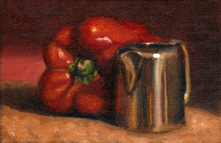 Oil painting of a large red pepper beside a small sliver-plated milk jug.