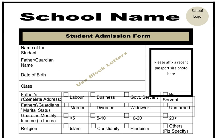 Admission Form Template for Schools Free Download full Customizable
