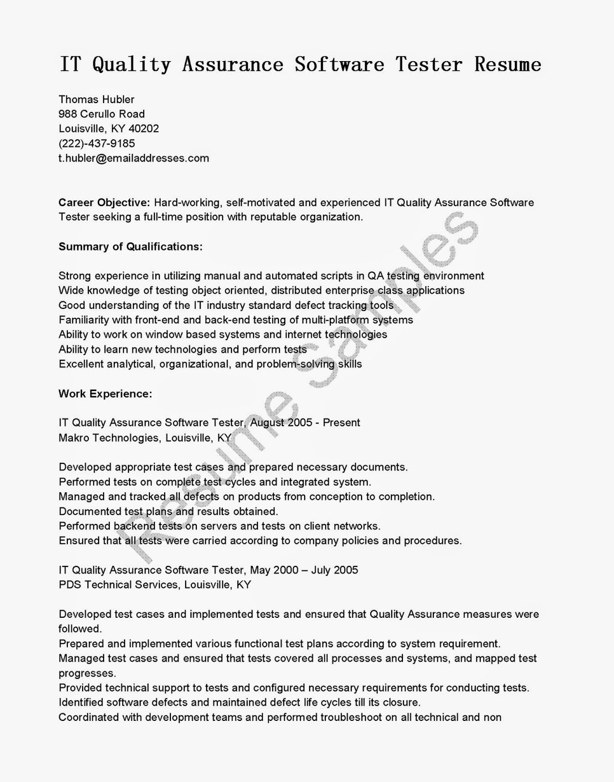 Sample Resume For Quality Assurance Executive Resume Samples It Quality Assurance Software Tester
