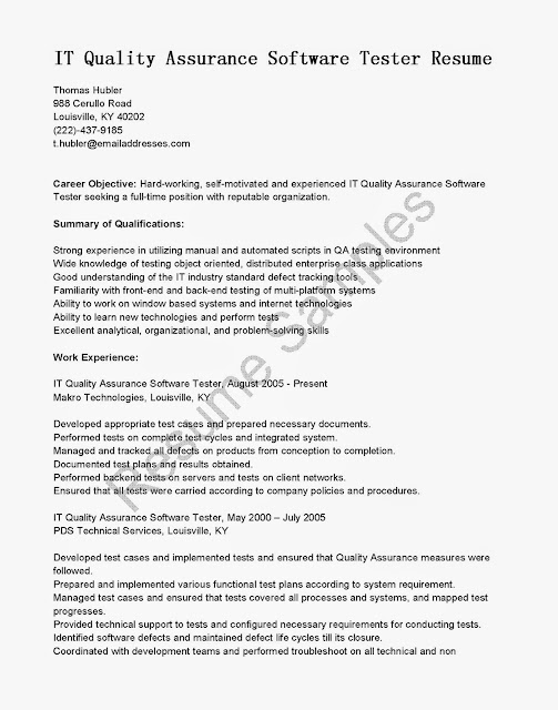Qa manual tester resumes freloadthebest for Sample resume for manual testing professional of 2 yr experience