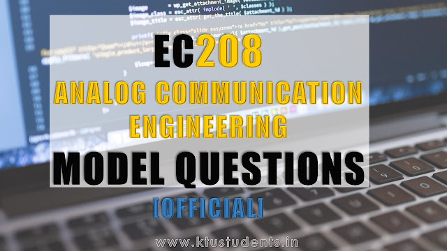 Model Question Paper for EC208 Analog Communication Engineering