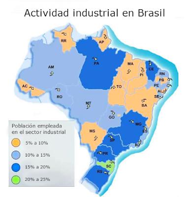 mapa de la actividad industrial en brasil
