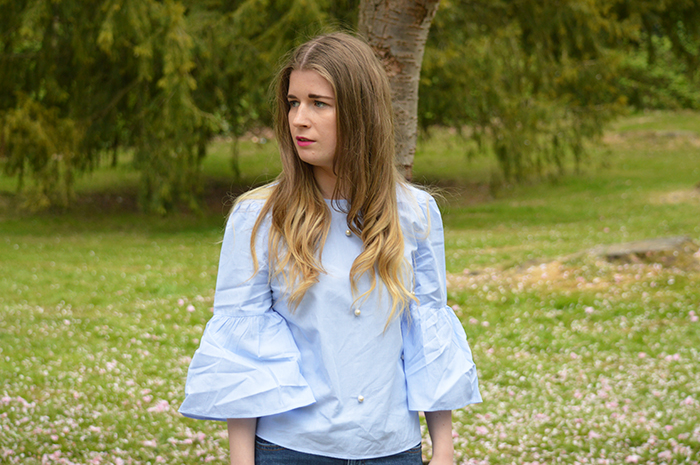 zara blue pearl blouse fashion bloggers