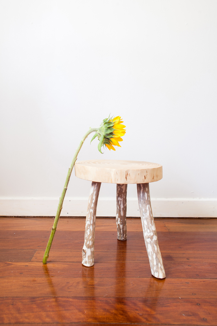 hand made wooden stool with sunflower
