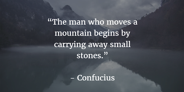"""The man who moves a mountain begins by carrying away small stones."" ~ Confucius"