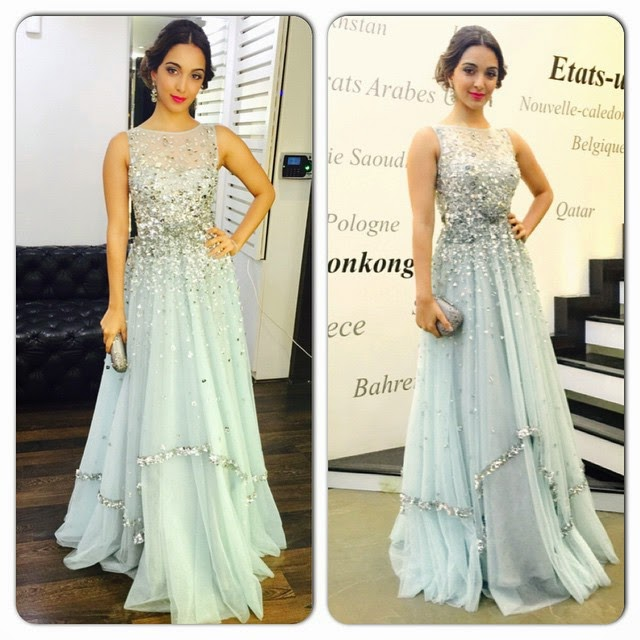 wonderful evening at big stare n't er tai n men taw ards , tonight wearing a custom made gown by my darling shubs @papadontpreachindia like it?, Kiara Advani Hot Pics in Sexy Dresses from Events