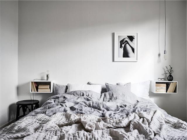 dormitorio con mesitas suspendidas chicanddeco