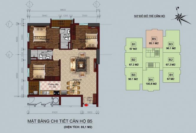 Mặt bằng căn hộ 100m2 Chung cư tòa B1 B2 Linh Đàm - Hud2