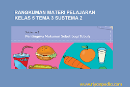 "Rangkuman Materi Pembelajaran Kelas 5 SD/MI Tema 3 Subtema 2 "" Pentingnya Makanan Sehat Bagi Tubuh """