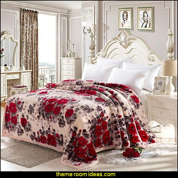 Romantic Red Roses Printing  Cotton Blanket