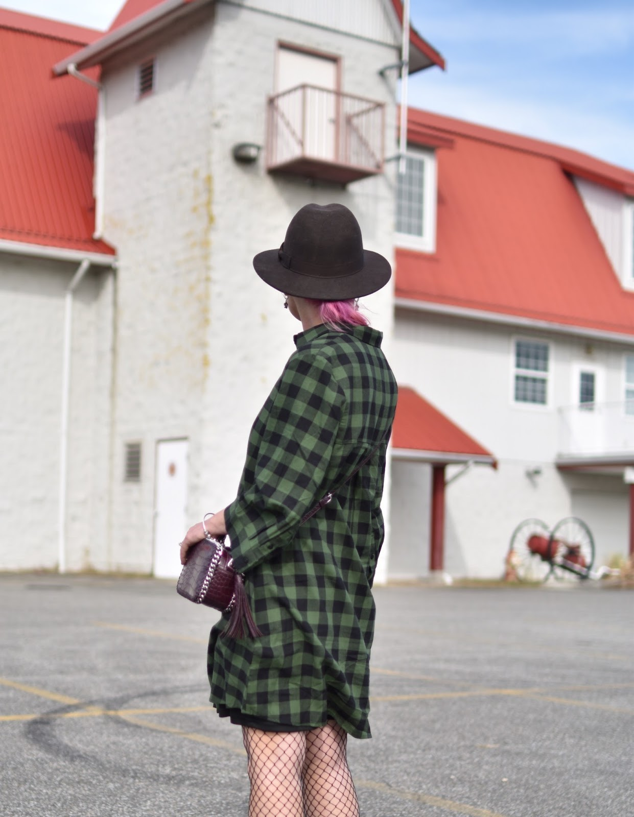 Outfit inspiration - plaid flannel shirtdress, fishnet tights, felt fedora, maroon cross-body bag