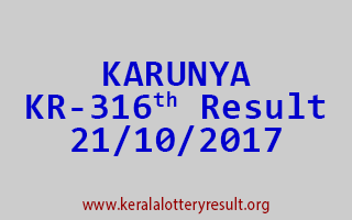 KARUNYA Lottery KR 316 Results 21-10-2017