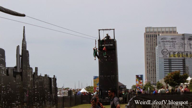 Me and my niece coming down the Gotham zip line - Outside San Diego Comic Con 2014