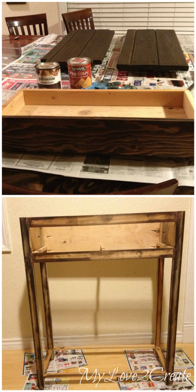 staining drawer front and table top and bottom shelf