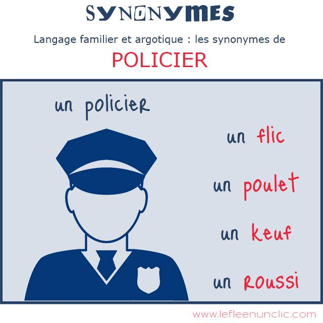 """langage familier et argotique, les synonymes de """"policier"""", vocabulaire, FLE, le FLE en un 'clic'"""