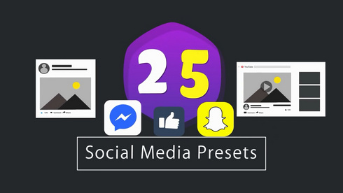 قالب افتر افكت مجاني - مشروع 25 ايقونة انفوجرافيك لشبكات التواصل - CC فأعلى