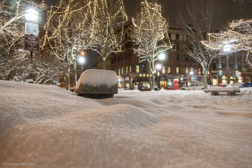 Portland, Maine USA January 2018 photo by Corey Templeton. A snow-covered scene in the Old Port's Post Office Park from last week.