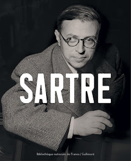 altered photo of Jean-Paul Sartre without his cigarette on BnF poster