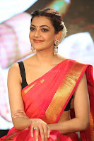 Kajal Aggarwal in Red Saree Sleeveless Black Blouse Choli at Santosham awards 2017 curtain raiser press meet 02.08.2017 037.JPG
