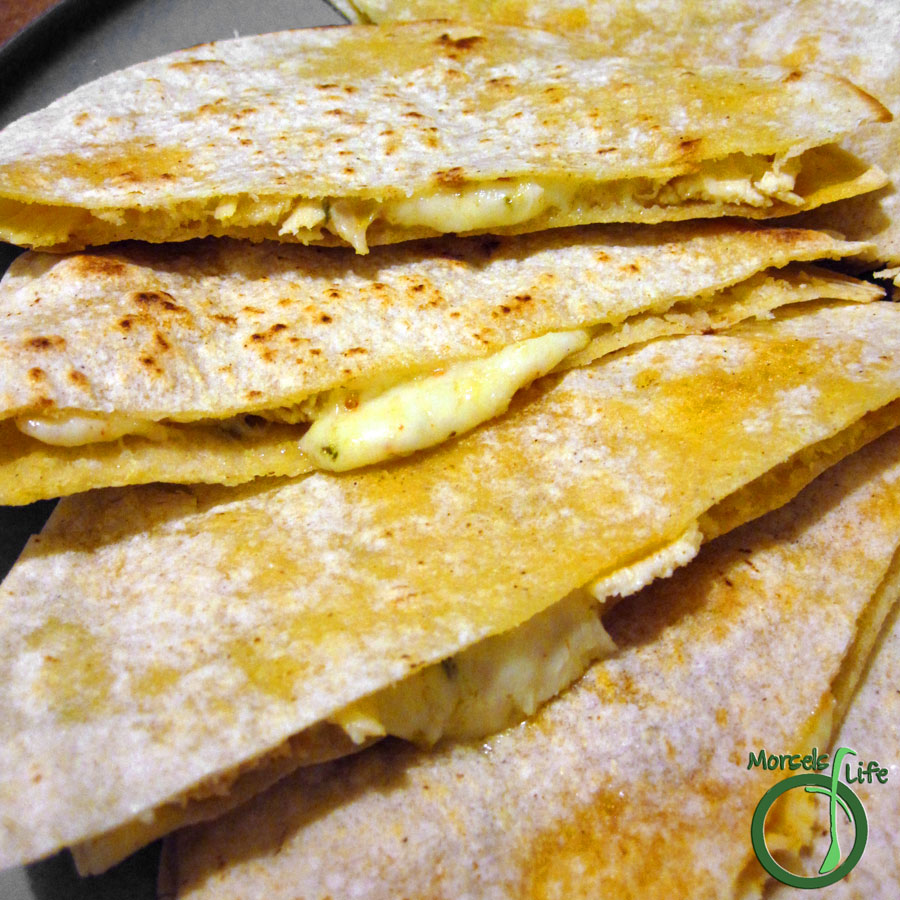 Morsels of Life - Chicken Quesadillas - Simple chicken quesadillas with onions and bell peppers and lots of melty cheese.