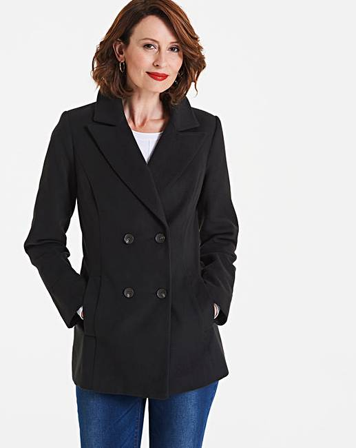 jd williams double breasted short collar coat