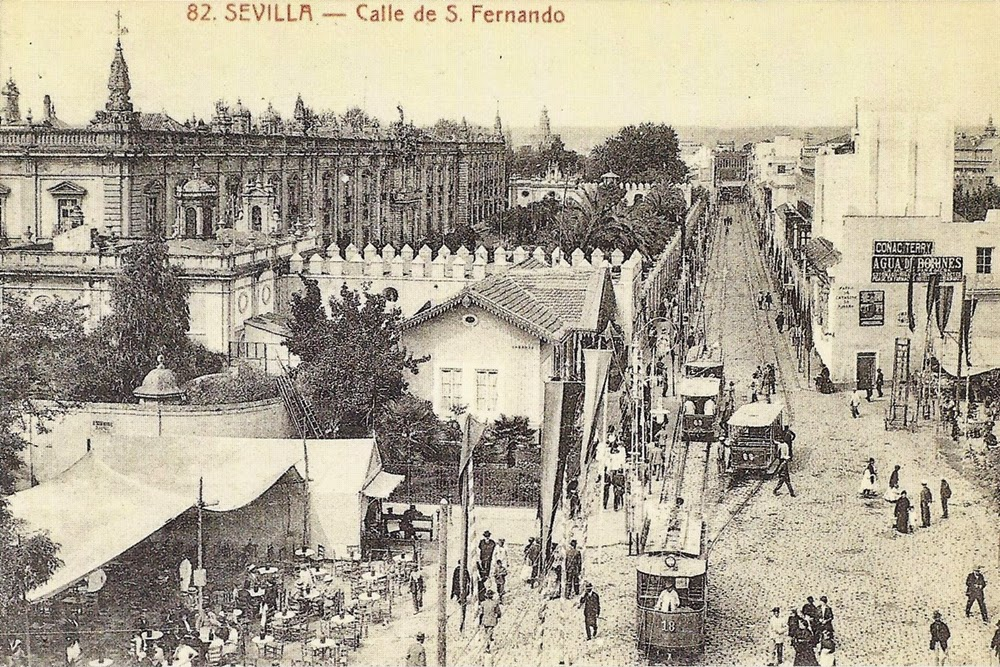 Postales antiguas de andaluc a calle san fernando sevilla for La fabrica del mueble sevilla