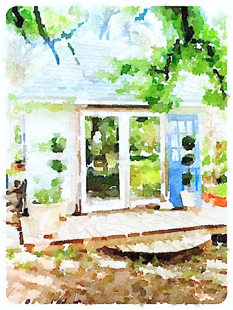 Botanic Bleu garden shed beginnings watercolor print before white limestone added