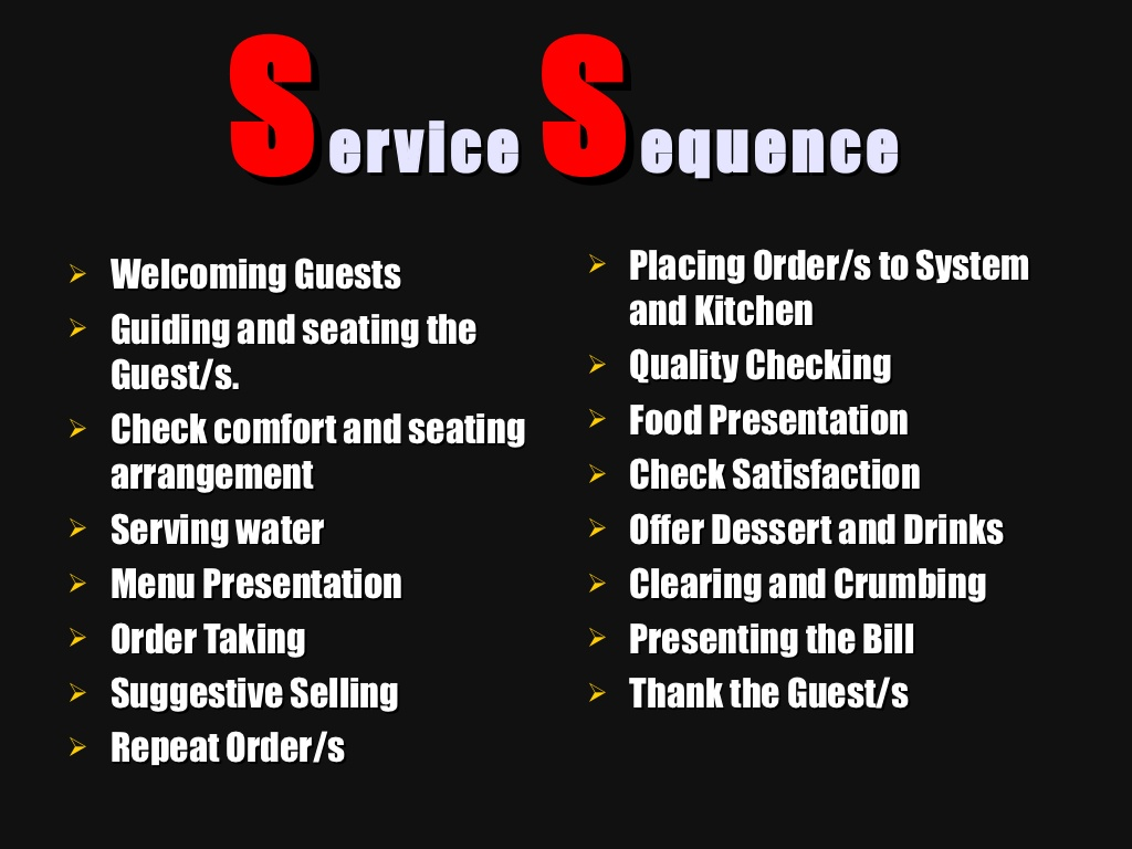 Hospitality Hub Sequence Of Fine Dining Service