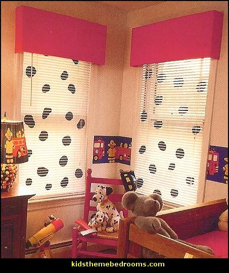 dalmation-windows-Fireman Theme Bedrooms - Fire Engine Theme Beds - Firefighter theme bedroom decorating Ideas