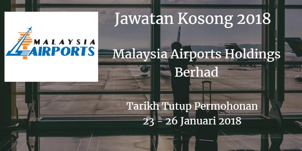 Jawatan Kosong MAHB 23 - 26 Januari 2018