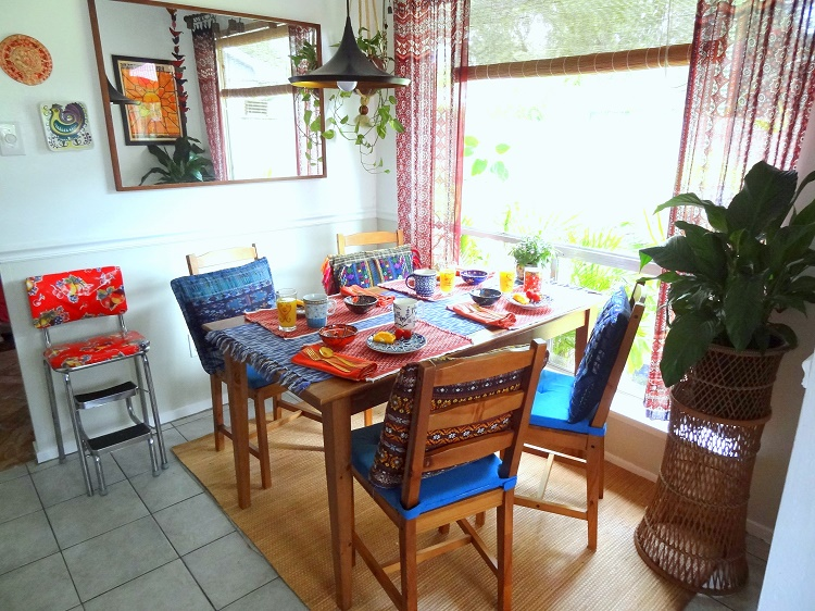 bohemian global small dining room